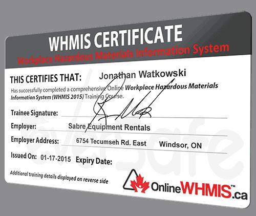 WHMIS Certificate
