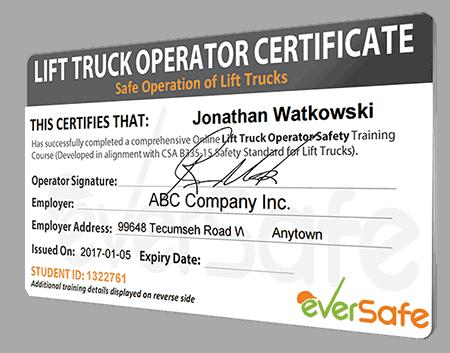 Online Lift Truck Certification Training Csa B335 15