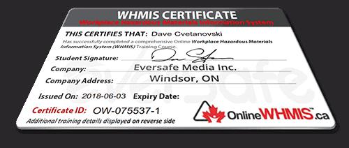 Online WHMIS Training Certificate