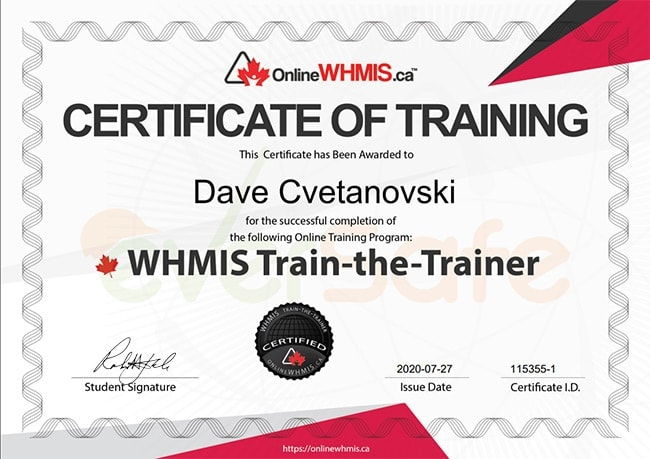 WHMIS train the trainer certification